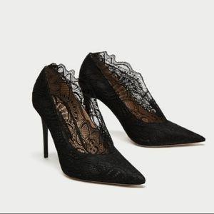 NEW Zara Black Lace Collar Pump Heels